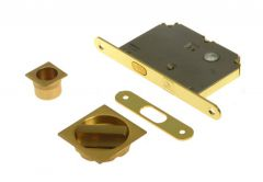 Lock for sliding door with square handle, Matt Gold, WC