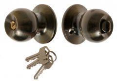 Door Round Knob with Cylinder CH 6871, PZ  - Patina