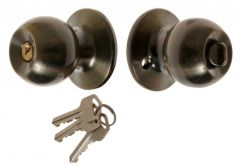 Door Round Knob with Cylinder CH 6871, PZ - Patina