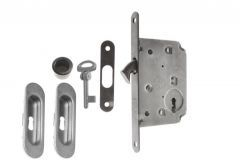 Lock for sliding doors with long handle, Matt Chrome, BB