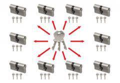 Master key system, key alike with Gege Ap1500 cylinders (30/30x10,   3