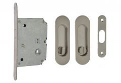Mortise Lock for sliding doors with oval handle 125x33mm, Satin, WC