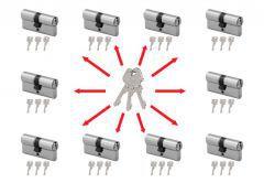 System master key na bazie wkładek Wilka STR  (30/30x10, po 3 klucze indywidualne , 3 klucze master) nikiel