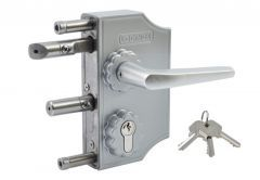 Decorative Lock with handle LOCINOX LAKQ for Gates on Profile 40mm, Aluminium, silver