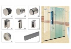 Set of fittings for Sliding Glass Shower Cabin (2mb) TD-B002 304SS (ZE