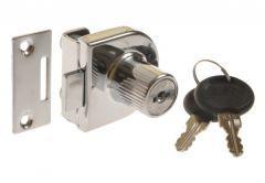 Cam Lock X-918 for glassed door, single, Chrome