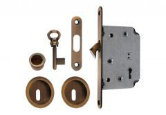 Lock for sliding doors with round handle, Patina, BB