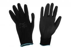 Rękawice poliestrowe powlekane PU czarne (RE-221)