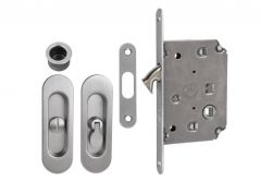 Lock for sliding doors with long handle, Matt Chrome, WC