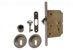 Mortise Lock for sliding doors with fitcangs, OS, Satin- Chrome, BB