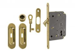 Lock for sliding doors with long handle, Gold, BB, folded key