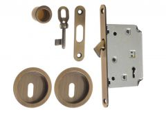Mortise Lock for sliding doors with fitcangs, OG, Patina, BB