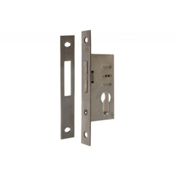 Extra Mortise Lock EUROPORTAL 35/22/240 INOX with Striking Plate