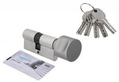 Cylinder DORMA DEC 260 30G/30, with round knob nickel,  5 key