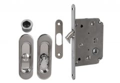 Lock for sliding doors with long handle, Chrome, WC