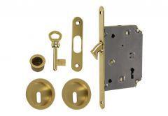 Lock for sliding doors with round handle, Matt Gold, BB