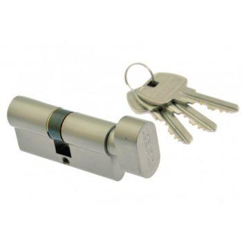 Cylinder lock Gerda E1 36K/28 with knob, pearl Nickel