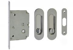 Mortise Lock for sliding doors with oval handle 125x33mm, Chrome, WC