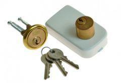 Rim Lock LOB TB62 Double-Cylinder, White