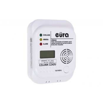 Battery Carbon Monoxide Sensor EURA CD-65A4 with LCD and buil in thermometer